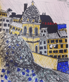 Vernazza, Cinque Terre: ink pen, gel pen, pencil, and markers on paper