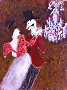"""Skeletal Dancers: 8.5"""" x 11"""", acrylic on paper, based off Toulouse Lautrec sketch http://dressedintime.blogspot.com/2012/01/can-can.html"""