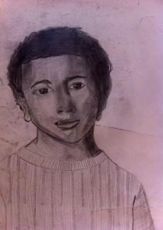 "Magazine Boy: 14"" x 11"", pencil on paper"