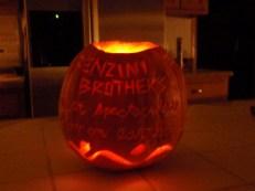 Benzini Brothers Pumpkin (back): circus tent on pumpkin