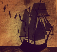 """Decemberists: 8"""" x 8"""", charcoal on paper, based off Decemberists album cover for """"Castaways and Cutouts"""""""
