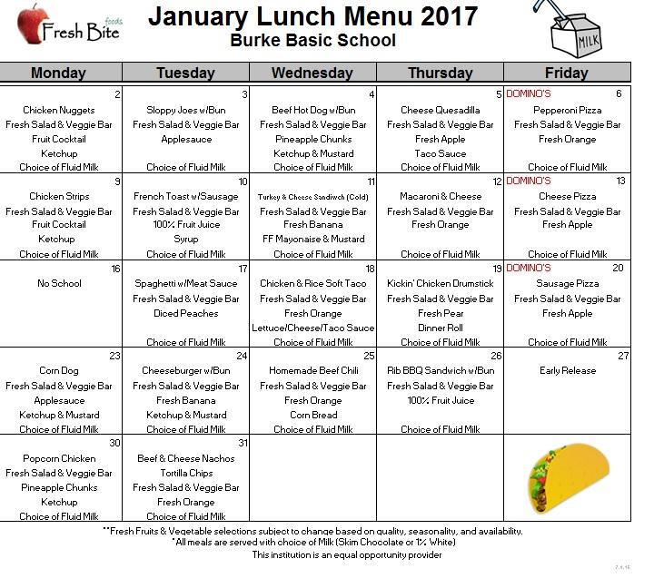 Elementary School Lunch Menu 2017