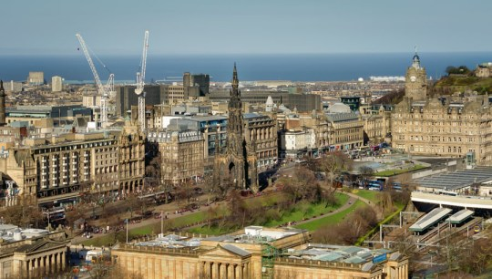 View from Castle ramparts with Scott Monument, Edinburgh, Scotland