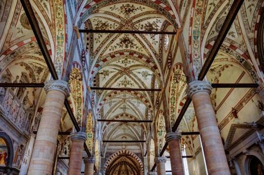 Inside Sant-Anastasia, Verona, Italy