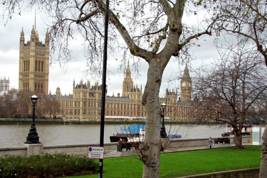 View towards Parliament from the South Bank, London