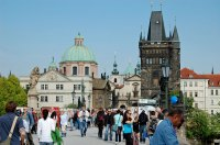 Charles Bridge, view towards Old Town, mid-day