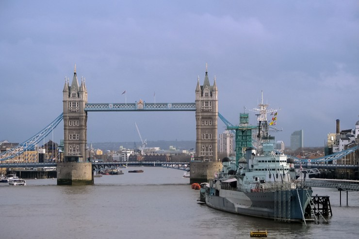 HMS Belfast and Tower Bridge, London