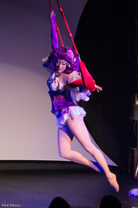 Tamara The Trapeze Lady performing at Seattle Burlesque Show Decadence – A Raunchy Retrospective of Ten Years in Tease