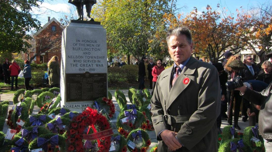 At the cenotaph in 2016