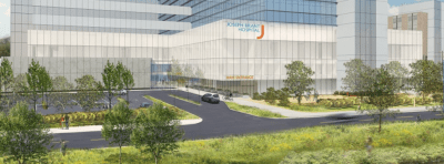 An architects rendering of the new entrance to the Joseph Brant Hospital whch will now face the lake. The entrance will be off LAkeshore Road with the new parking lot just to the west of the hospital.