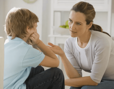 Parent talking covid