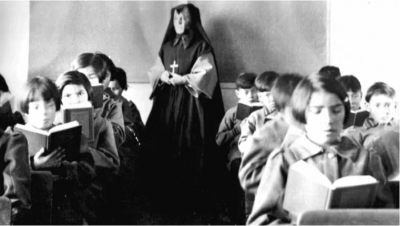 students with nun