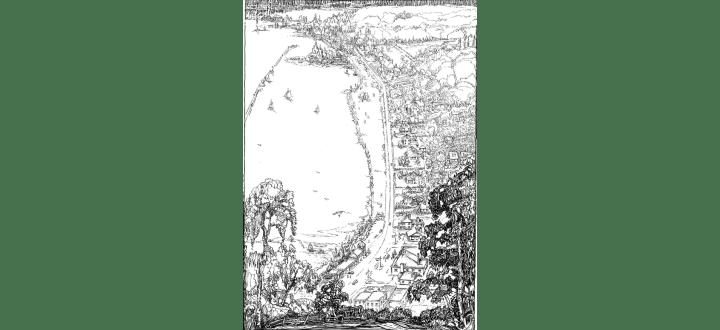Bird's-eye view of the Burlington Lakeshore, detail, 1946 – 1948