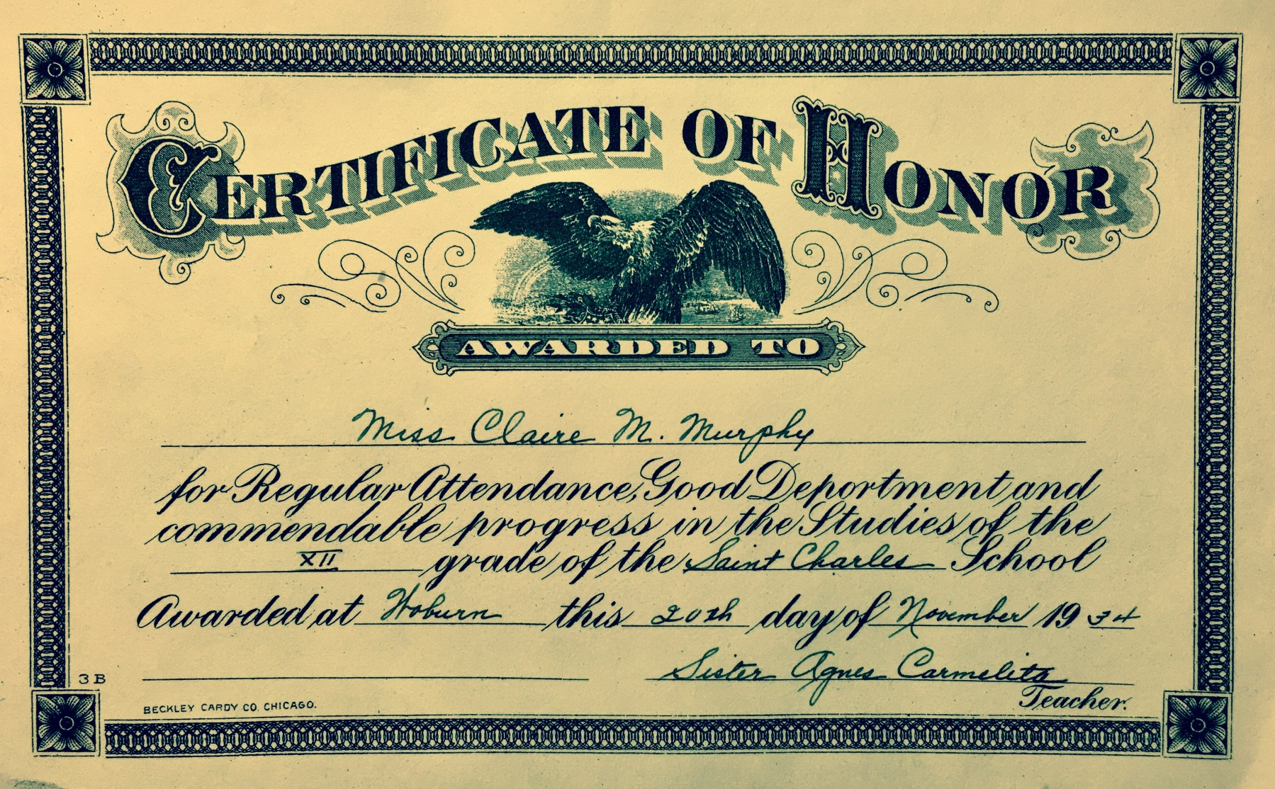 Claire Murphy diploma St. Charles 1934