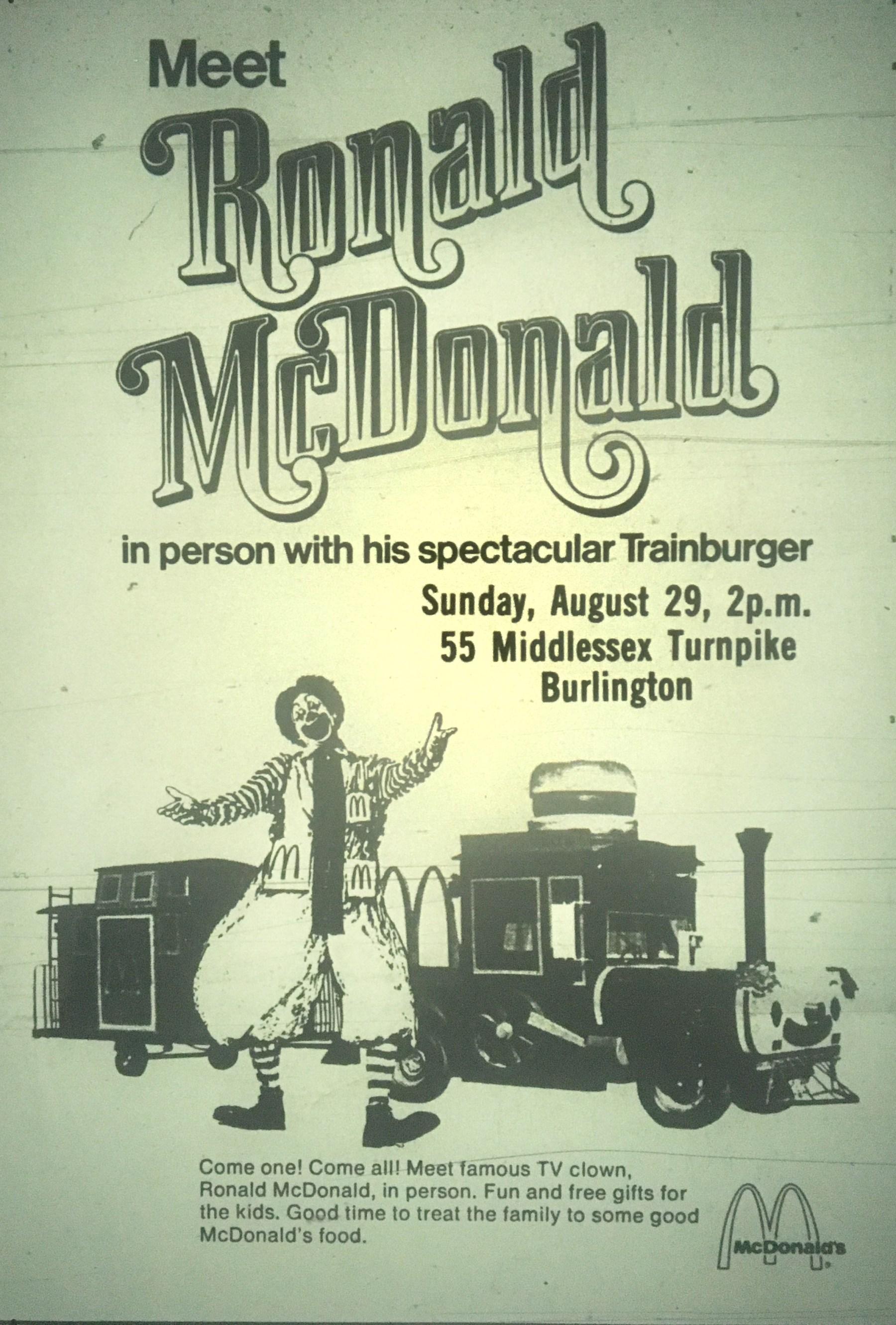 McDonald's trainburger Burlington MA