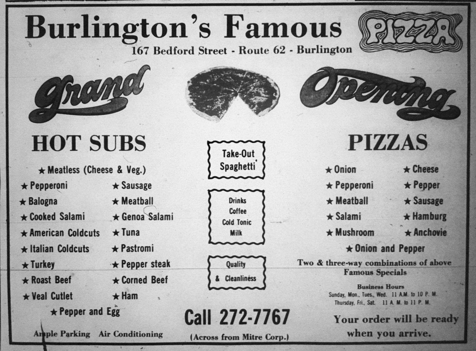 Burlington's Famous Pizza, early 1970s