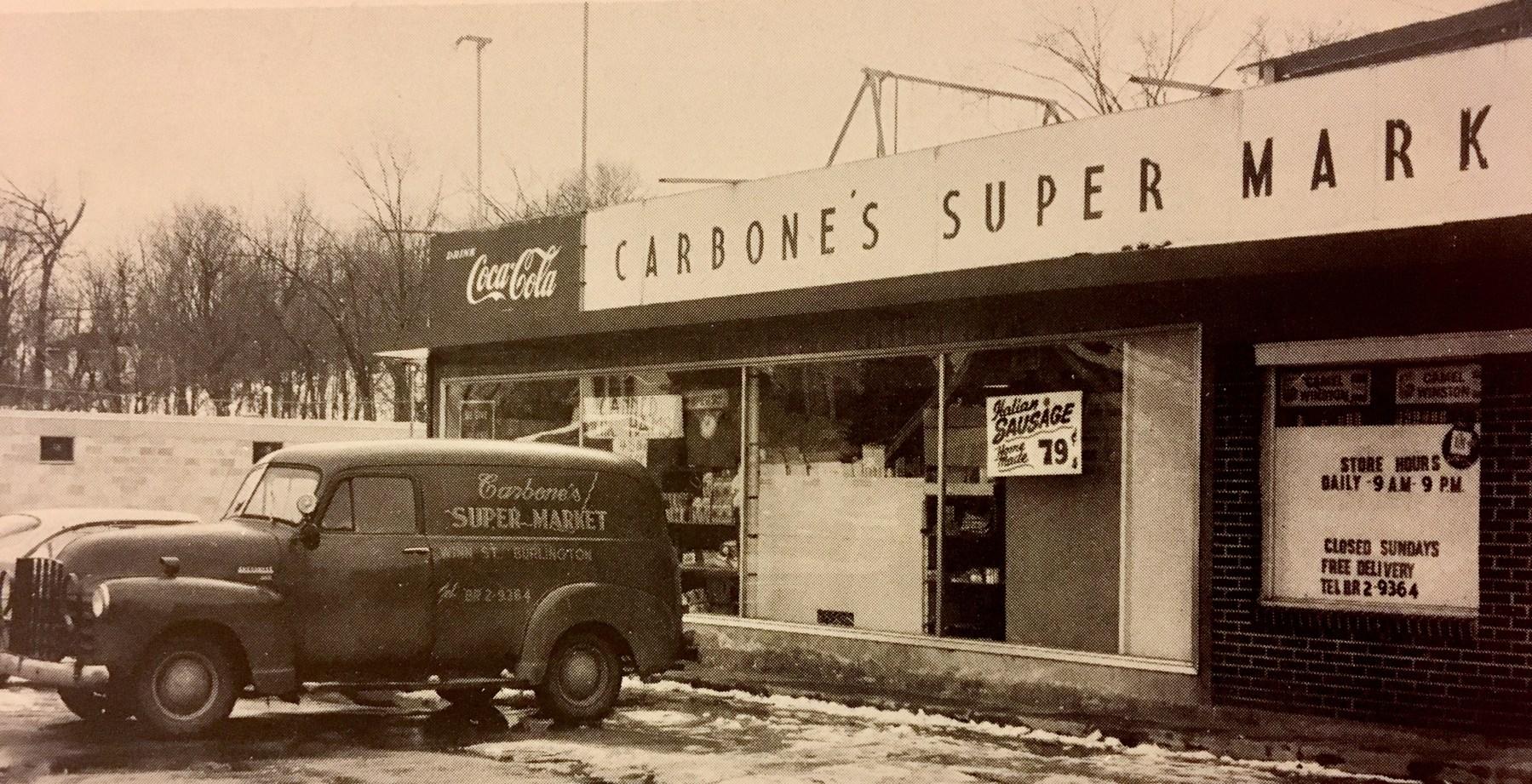 Carbone's Supermarket Winnmere Burlington 1955