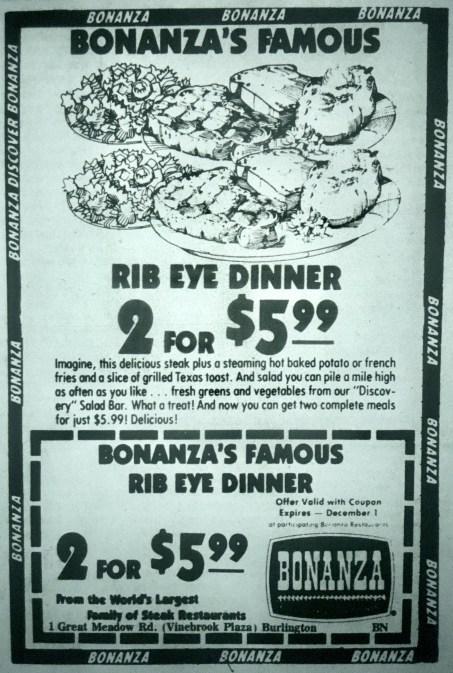 Bonanza restaurant, Burlington MA
