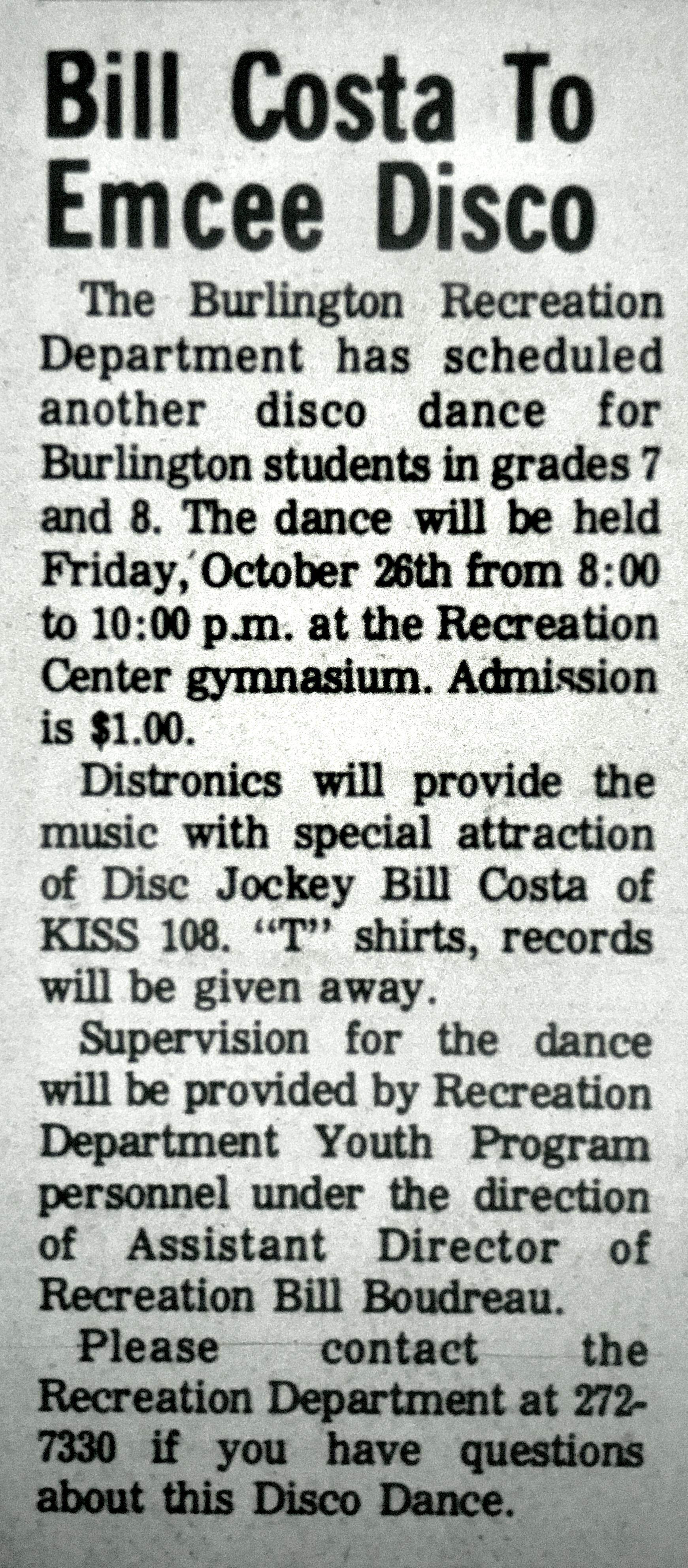 Burlington MA disco dance 1980