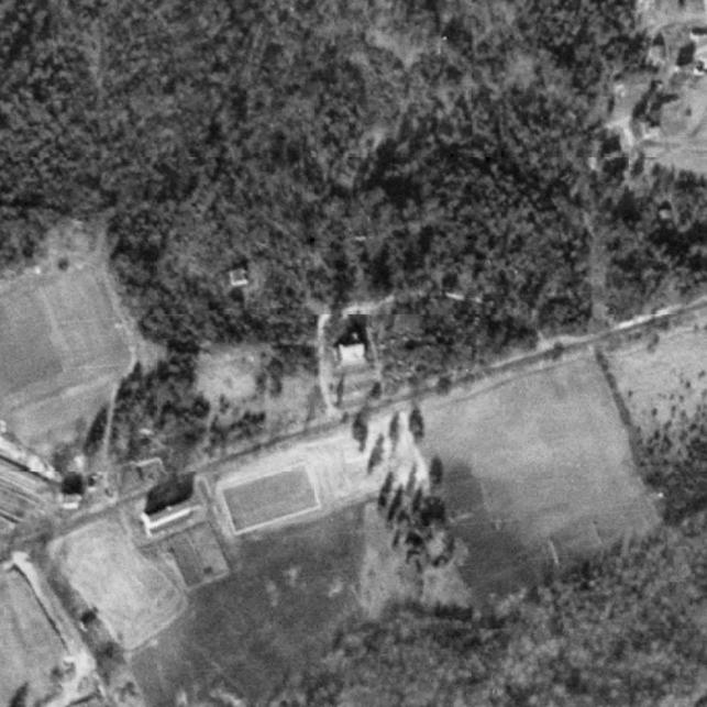 Terrace Hall, center of image, 1938. Notice the Terraces