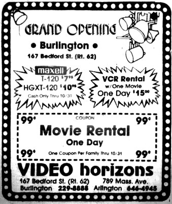 Video Horizons Burlington MA