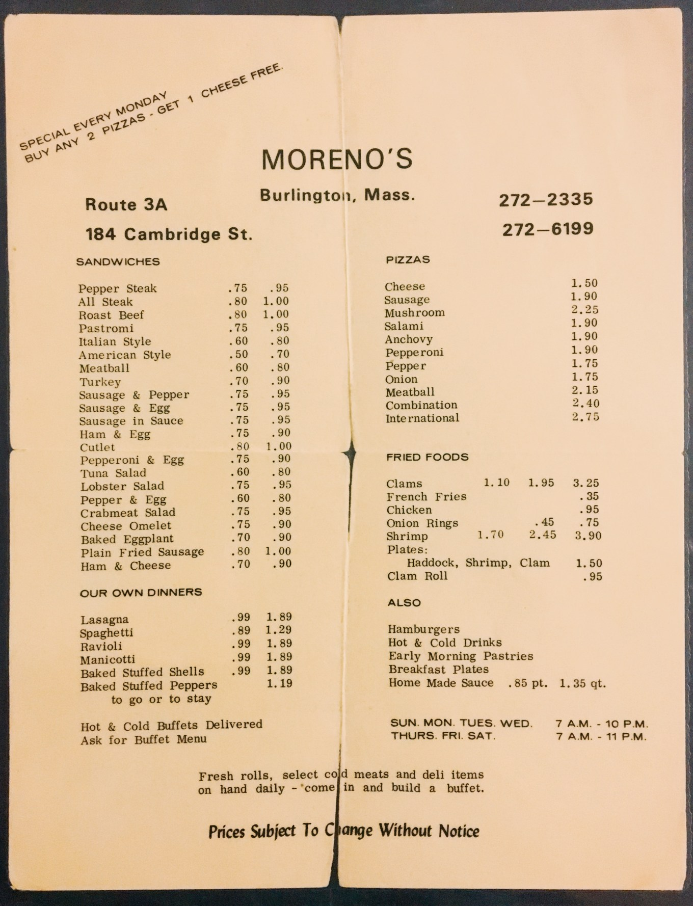Moreno's menu