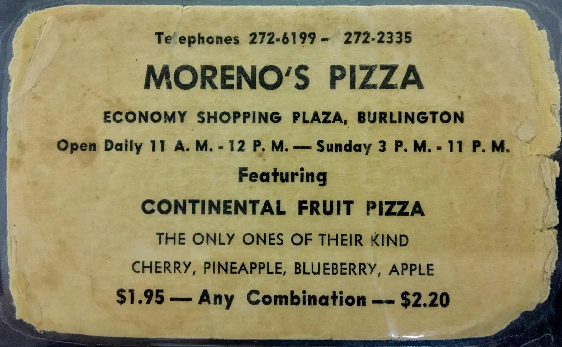 Moreno's Pizza, Burlington MA