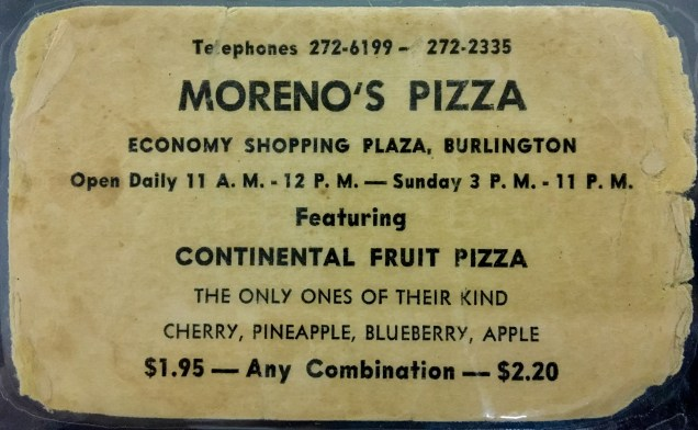 Moreno's Pizza, Burlington MA