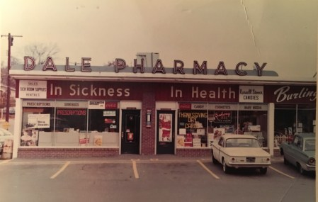 Dale Pharmacy in 1957. It's now Raja & Rana's Indian Market. Photo Credit: Dale Cascio