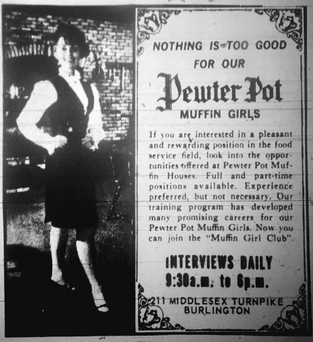 Pewter Pot muffin girls ad, Burlington MA