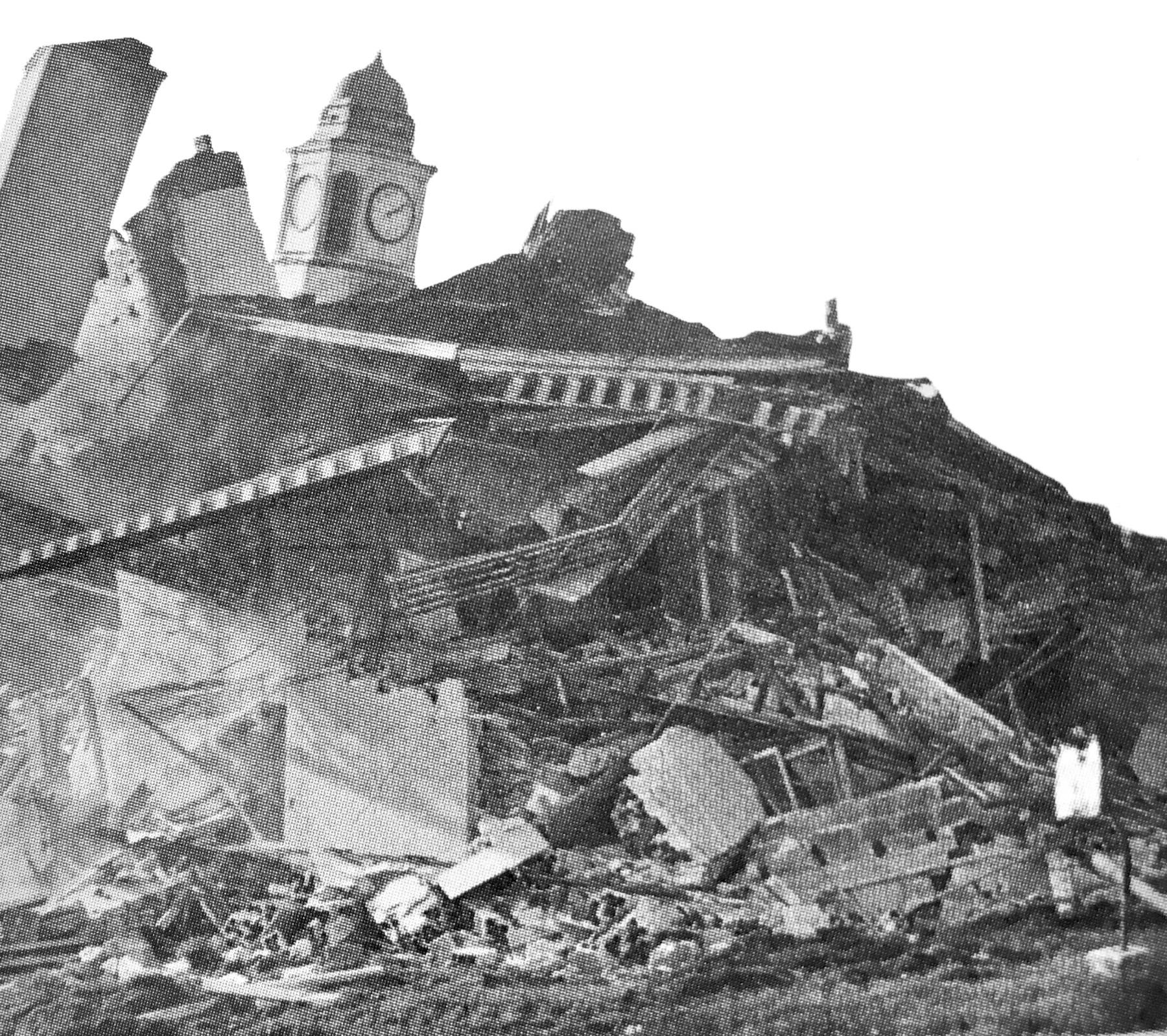 Town Hall rubble, 1969, Burlington MA