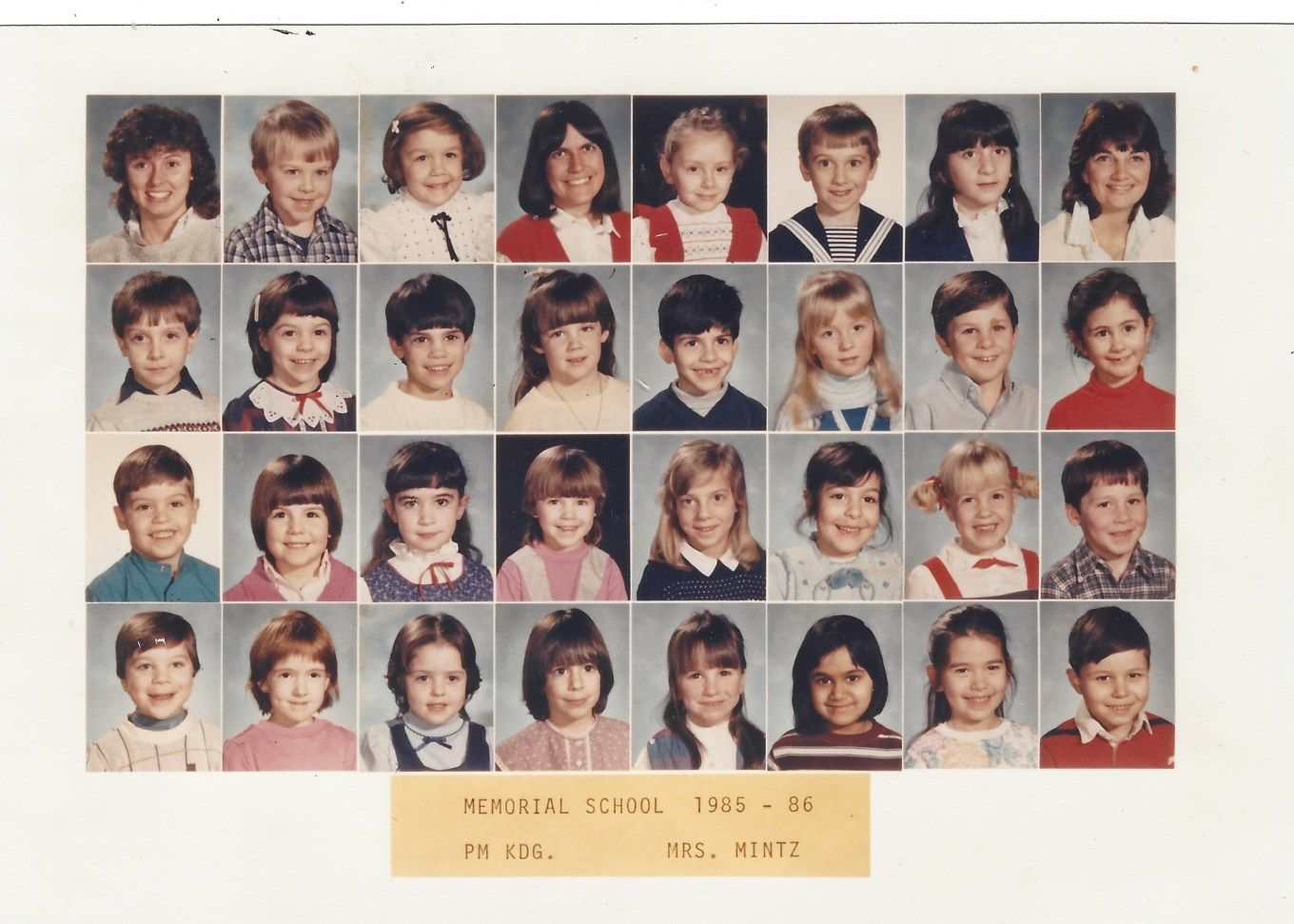 Mrs. Mintz Memorial School 1985, Burlington MA