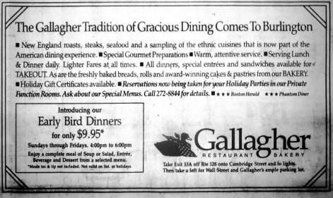 Gallagher Restaurant and Bakery, Burlington MA