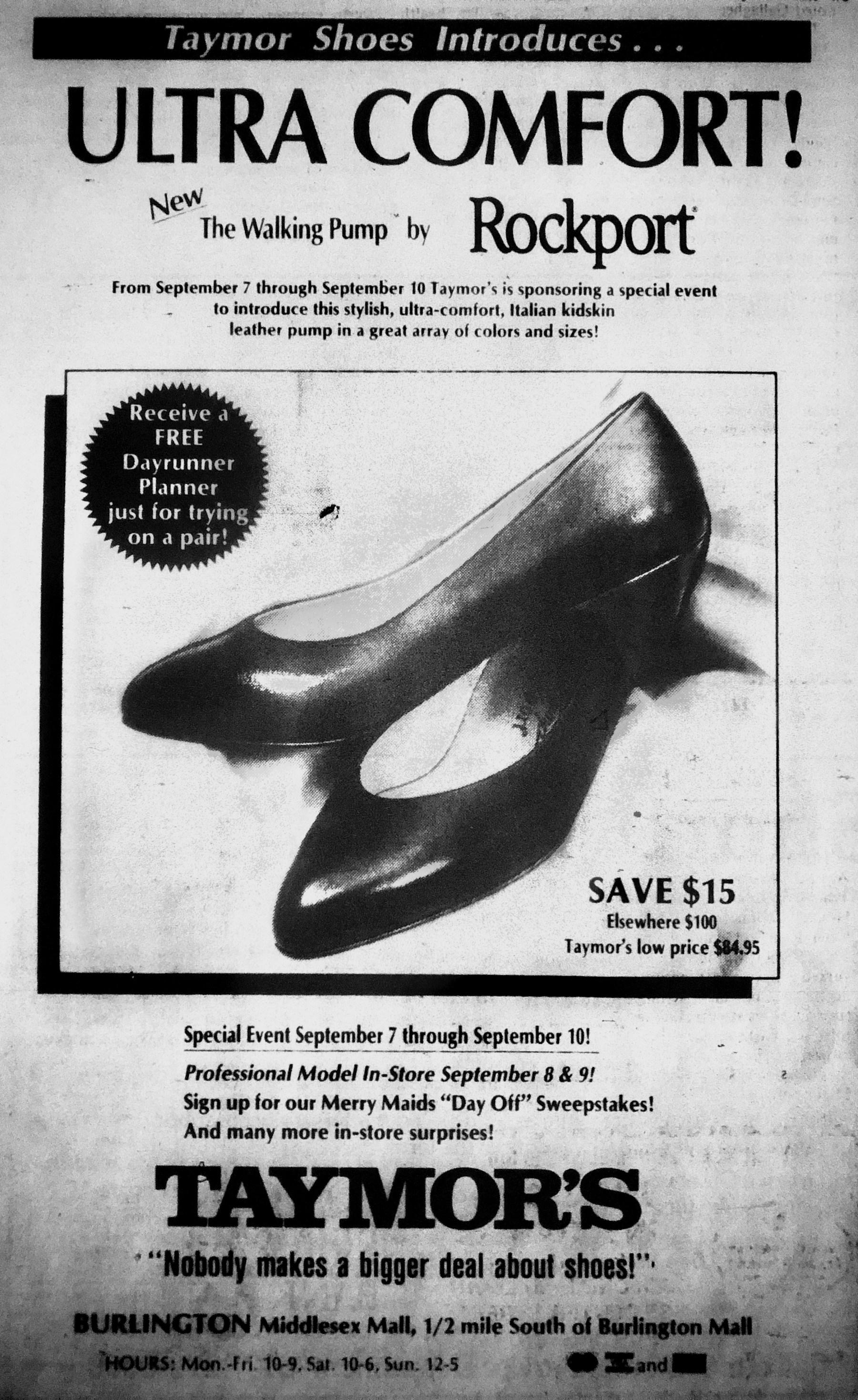 Taymor's shoes, Burlington MA