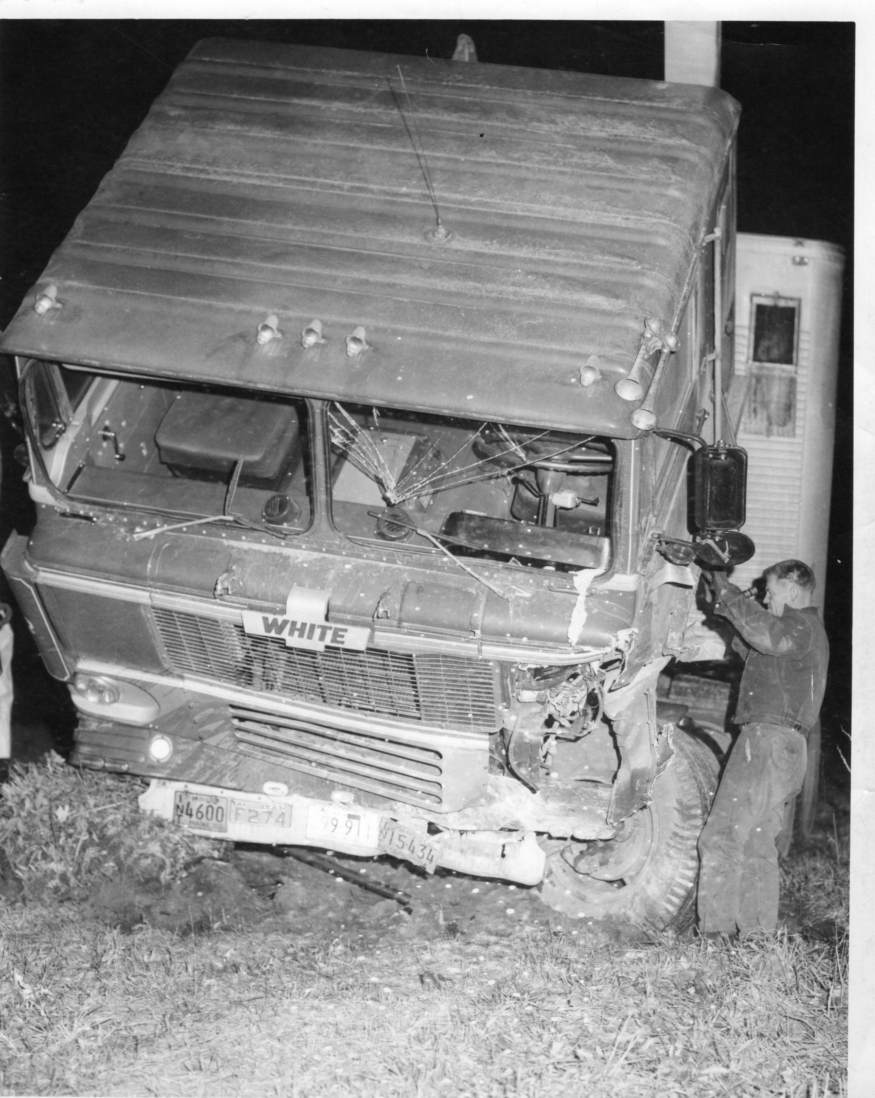 Tim Santry attending to a truck accident