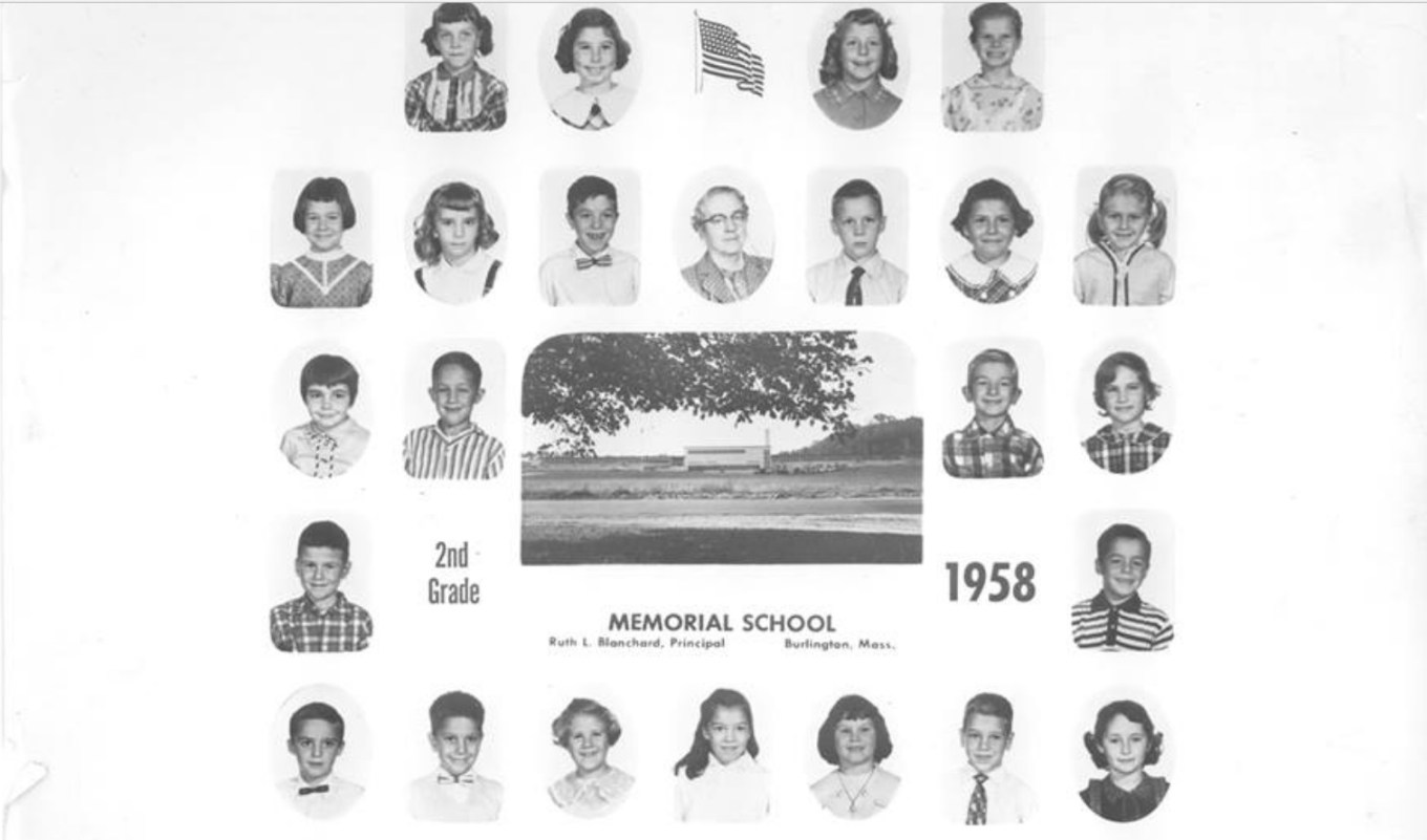 Memorial School room second grade 1958, Burlington MA