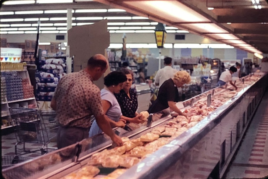 IGA Foodliner meat department Burlington MA 1962