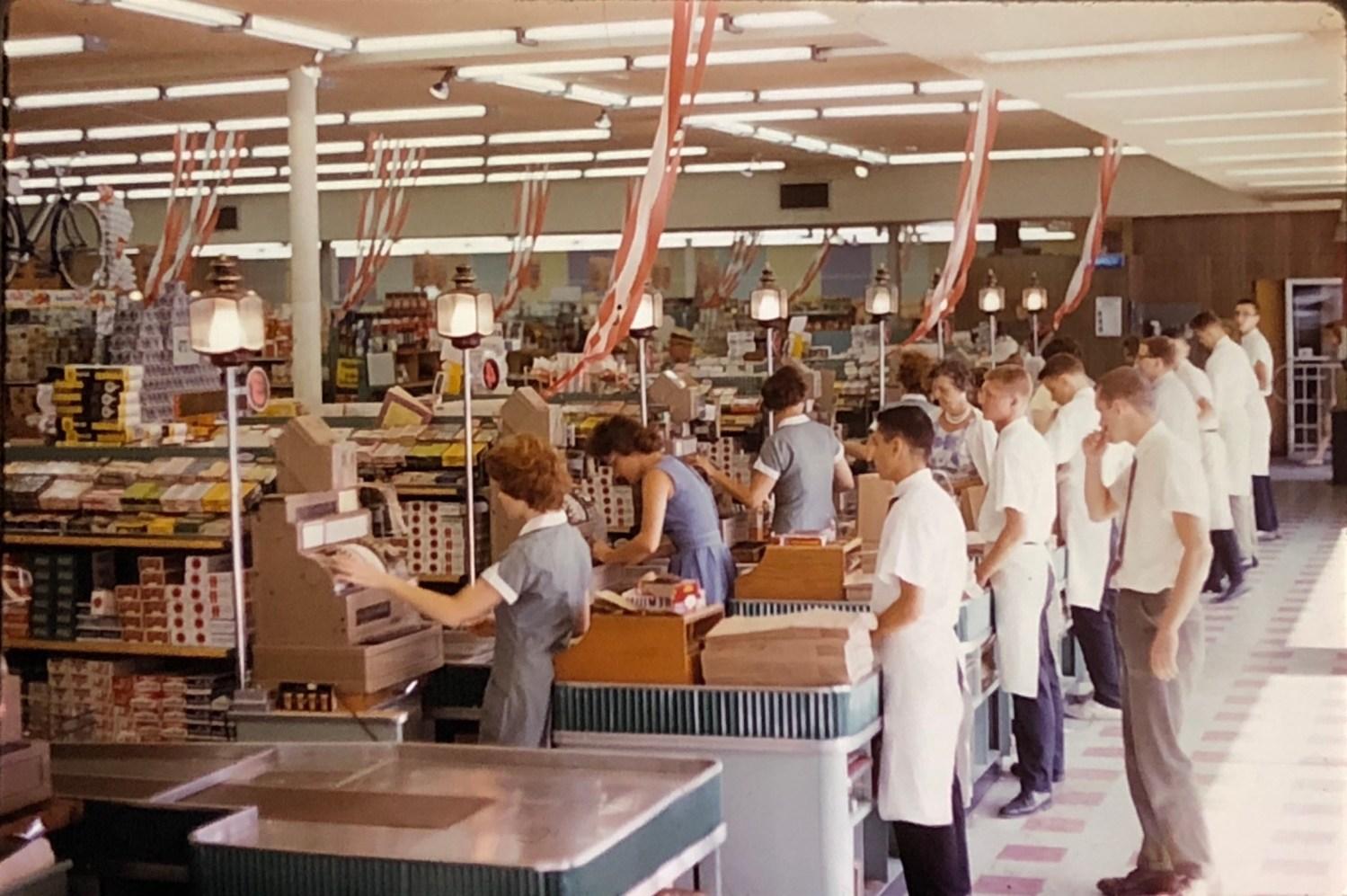 IGA Foodliner checkout area Burlington MA 1962