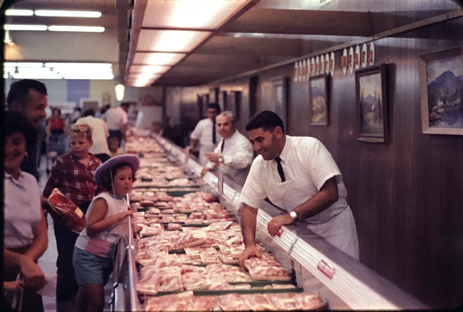 IGA Foodliner meat counter Burlington MA 1962