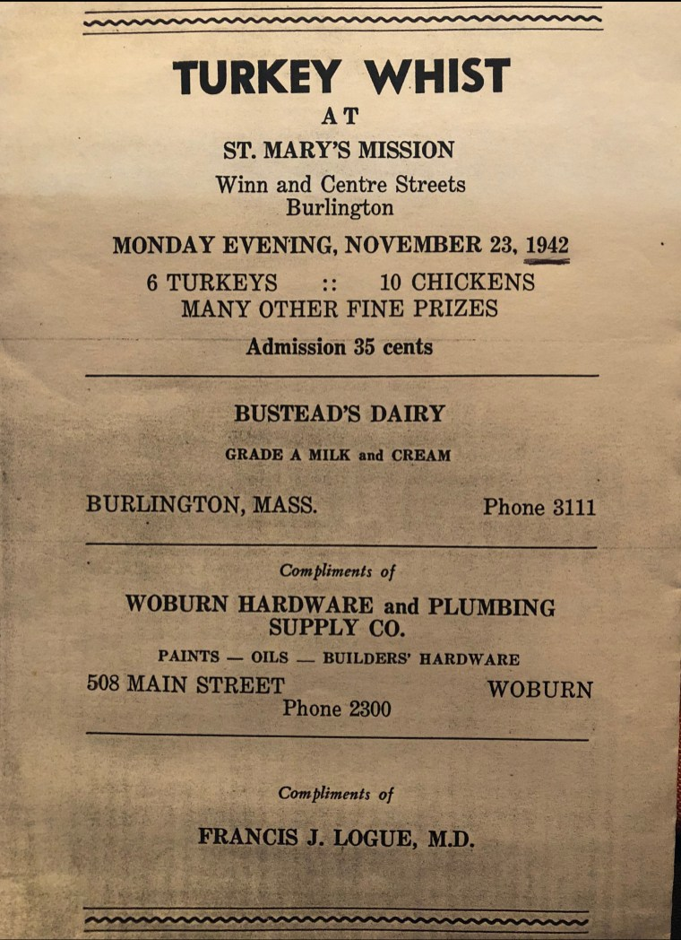 St. Mary's Mission Turkey Whist 1942 Burlington MA