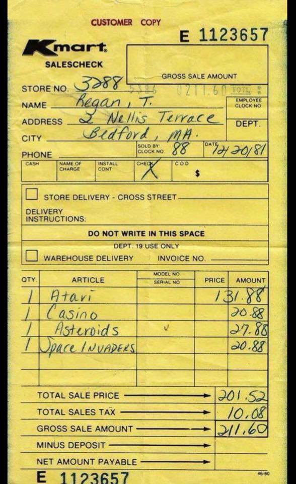 Kmart receipt 1981