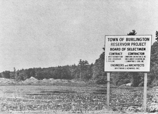 Mill Pond Reservoir construction early 1970s, Burlington MA