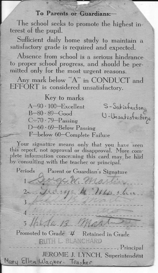 Ted Thomas Martin report card reverse, Union School Burlington MA