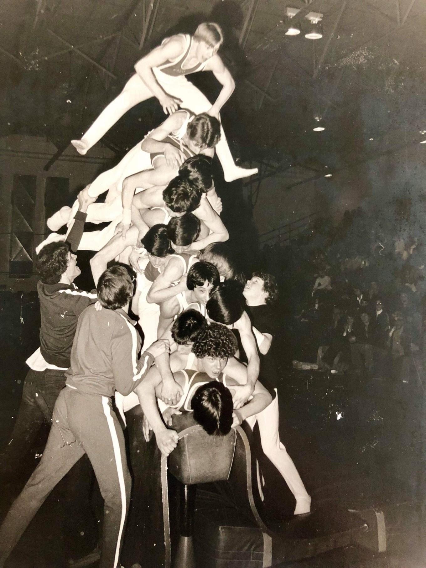 1980 BHS gymnastics team shenanigans. Photo credit: Merrill B. Clark