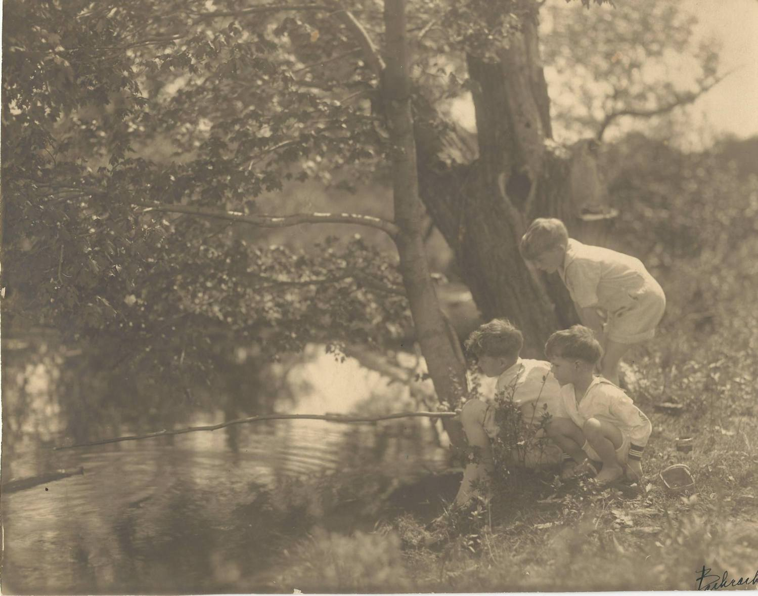 The three Burns boys fishing near Kent Cottage c. 1926