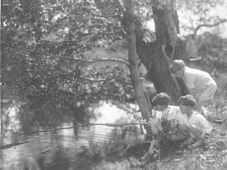 Burns boys fishing near Kent Cottage c. 1926