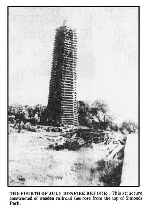 Bonfire made of railroad ties before being lit