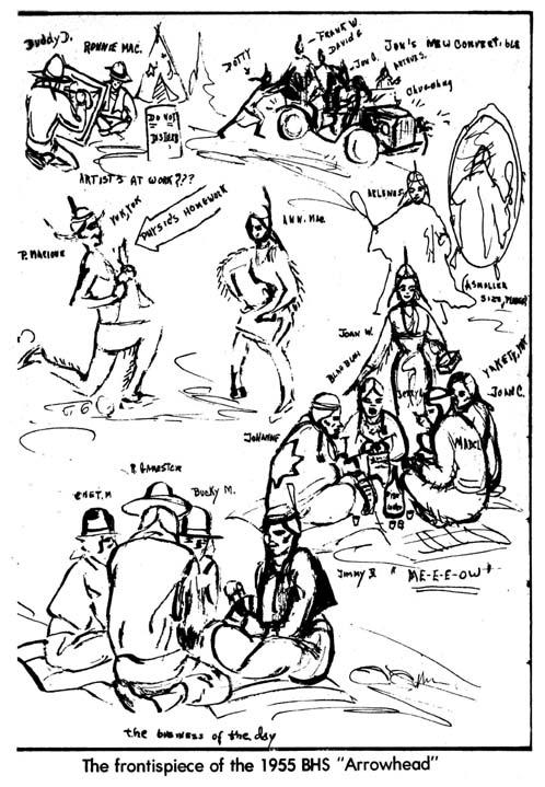 1955 BHS Arrowhead yearbook art