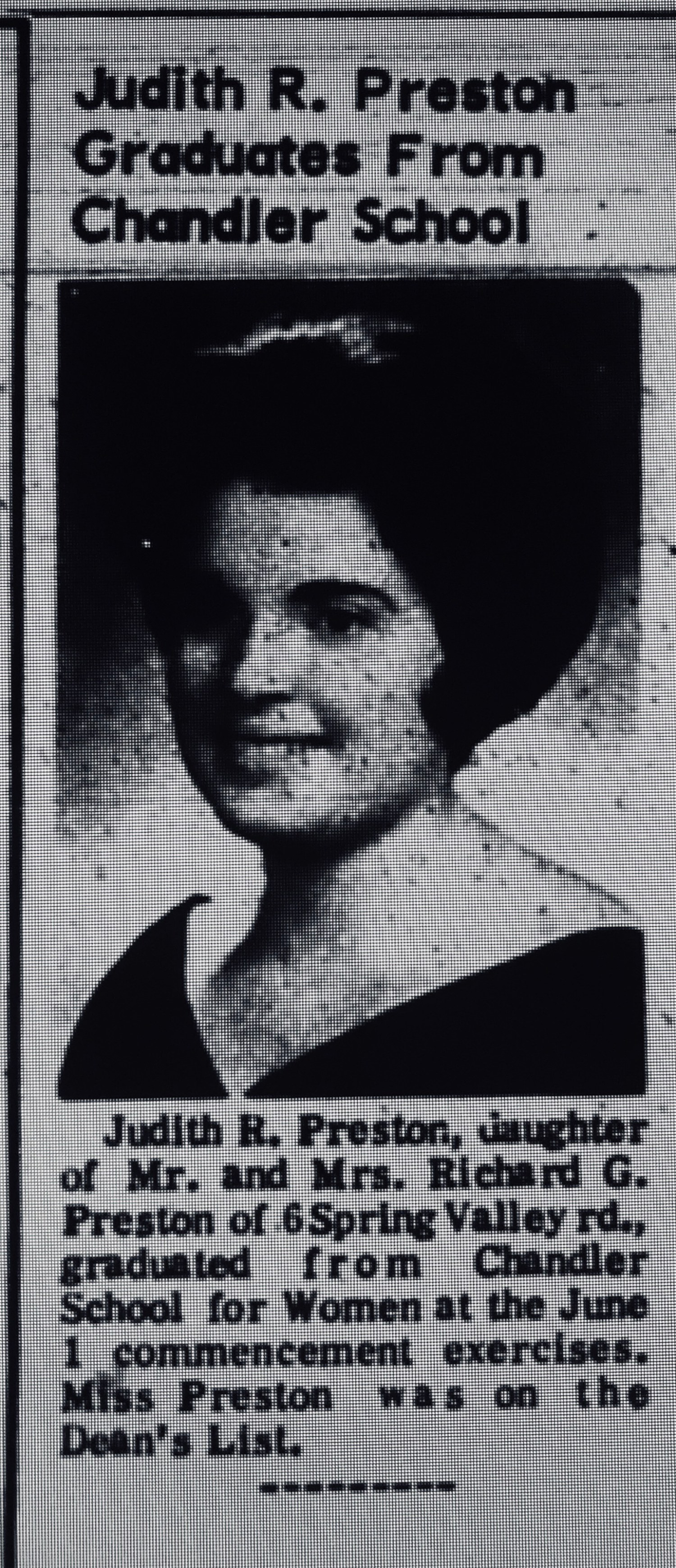 Judith Preston Chandler School Burlington MA