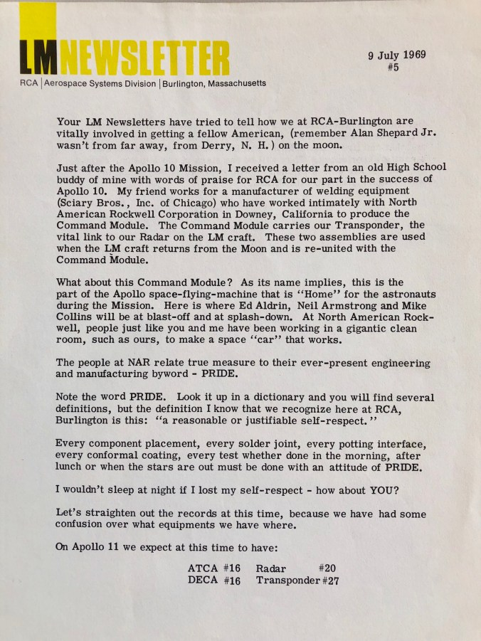 July 9, 1969 newsletter page 1
